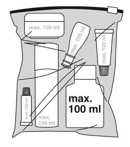 Visszazárható műanyag zacskó kézipoggyászhoz