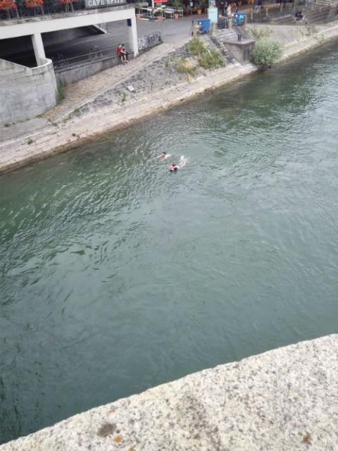 Úszkáló emberek a Rajna folyóban