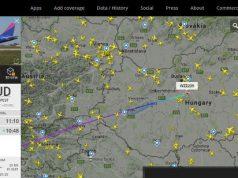 Repülőgép követés Európa felett