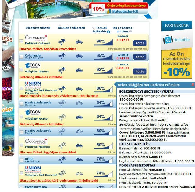 Összehasonlítható utasbiztosítási ajánlatok