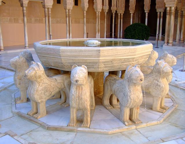 Az oroszlános udvar a Naszridák Palotájában