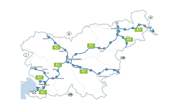 Szlovén autópálya térkép pihenőkkel